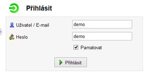 Přihlášení: demo:demo